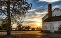 Historical Military Barracks at Sunset in Discovery Park, Seattle, Washington Royalty Free Stock Photo
