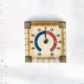 Home window thermometer in warm winter day Stock Photography