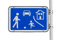 Home zone entry road sign white background Royalty Free Stock Photo