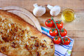 Homeade focaccia bread on wooden table Stock Photography