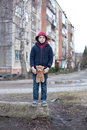 Homeless boy with bear young Royalty Free Stock Images