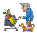 Homeless the drunkard pushes the supermarket cart with his things and his dog run near him Stock Image