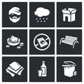 Homeless icons set. Vector Illustration.