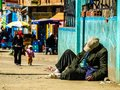 Homeless man in el alto la paz bolivia Royalty Free Stock Photo