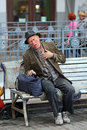 Homeless man lonely old with heartache on th street Stock Images