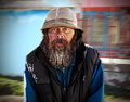 Homeless man the portrait of a with sad eyes Stock Photo
