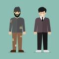 Homeless man and rich man character