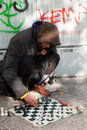 Homeless Men playing chess Royalty Free Stock Image