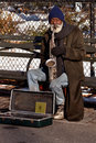 Homeless musician Stock Photography