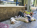 Homeless people life and sleep on the road in Santiago, Chile Royalty Free Stock Photo