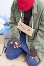Homeless person in need holding only a few cents his hand Royalty Free Stock Photography