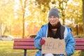 Homeless or poverty stricken elderly lady