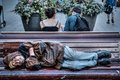Homeless Senior Man Sleeping on Park Bench Royalty Free Stock Photo