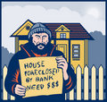 Homeless sign house foreclosed Stock Photography