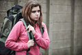 Homeless Teenage Girl On Streets With Rucksack Royalty Free Stock Photo