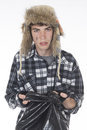 Homeless wanderer with a garbage bag in hand shooting studio Royalty Free Stock Photography