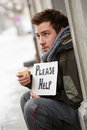 Homeless Young Man Begging In Street Stock Photography