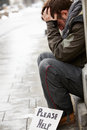 Homeless Young Man Begging In Street Royalty Free Stock Photo