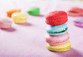 Homely macaron stack close up shot Stock Photography