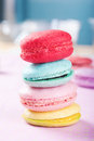 Homely macaron stack close up shot Stock Photo