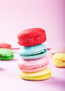 Homely macaron stack close up shot Stock Image