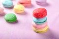 Homely macaron stack close up shot Stock Photos