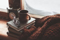 Homely wnter concept of window sill Royalty Free Stock Photo