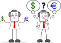 Homem de negócios with dollar dos desenhos animados e euro Fotos de Stock Royalty Free