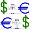 Homem de negócios with dollar dos desenhos animados e euro Fotografia de Stock Royalty Free