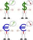 Homem de negócios with dollar euro Fotografia de Stock Royalty Free