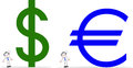 Homem de negócios with dollar euro Imagens de Stock Royalty Free