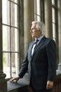 Homem de negócios looking through window Imagem de Stock Royalty Free