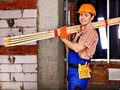 Homem no uniforme do construtor Foto de Stock Royalty Free