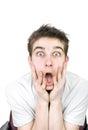 Homem novo espantado Imagens de Stock Royalty Free