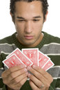 Homem que joga o póquer Fotos de Stock Royalty Free