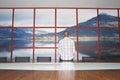 Homem que olha fixamente na foto da parede na sala de conferências Fotografia de Stock