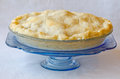 Homemade apple pie on antique blue dish Royalty Free Stock Photography
