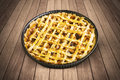 Homemade apple pie with baking dish on table Royalty Free Stock Photo