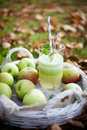 Homemade applejuice green juice made from fresh apples Royalty Free Stock Image