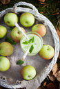 Homemade applejuice green juice made from fresh apples Royalty Free Stock Photography