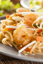 Homemade asian pad thai with shrimp and cilantro Royalty Free Stock Photography