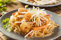 Homemade asian pad thai with shrimp and cilantro Stock Image