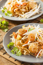 Homemade asian pad thai with shrimp and cilantro Stock Photo