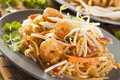Homemade asian pad thai with shrimp and cilantro Stock Images