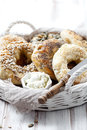 Homemade bagels with sesame poppy pumpkin and sunflower seeds Royalty Free Stock Images