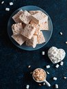 Homemade bars of Marshmallow and crispy rice Royalty Free Stock Photo