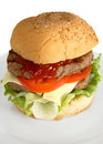 Homemade beefburger Stock Photo