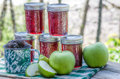 Homemade blackberry apple jam jars of and jelly Royalty Free Stock Photography