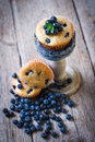 Homemade blueberry muffins in paper cupcake holder on rustic wooden decor Stock Photo
