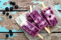 Homemade blueberry vanilla ice pops in a cluster on paper
